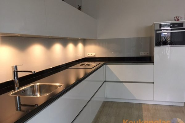Lichtgrijze keukenwand